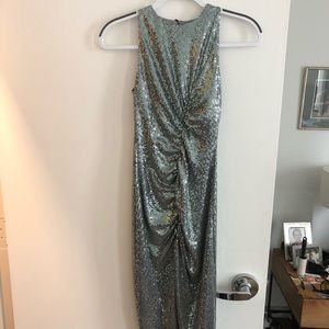 Turquoise sequin fitted midi dress
